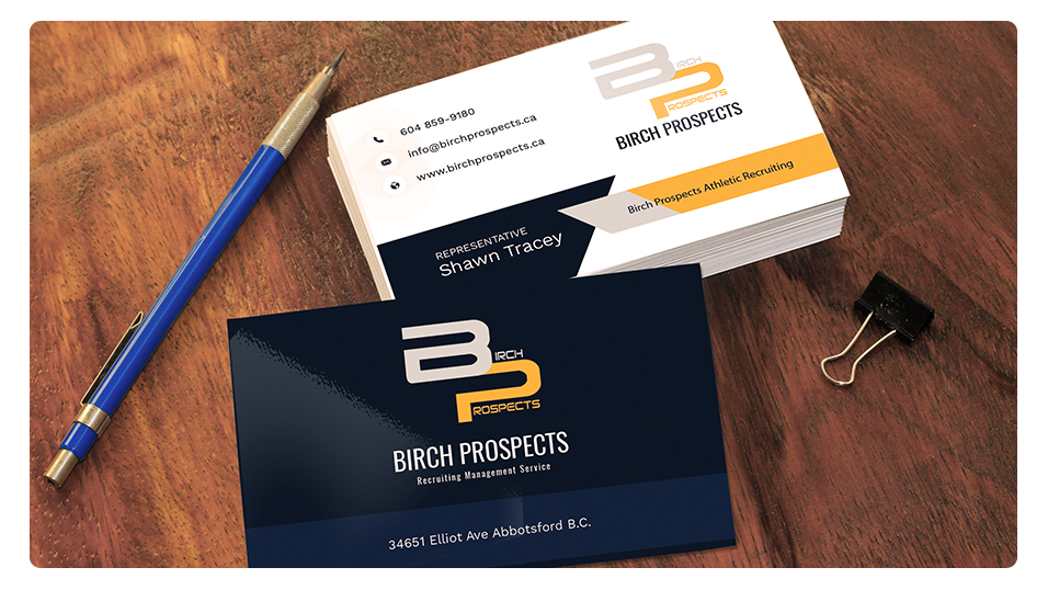 Birch Prospects, E.B. Web, 2 Sided Business Cards, Graphic Design