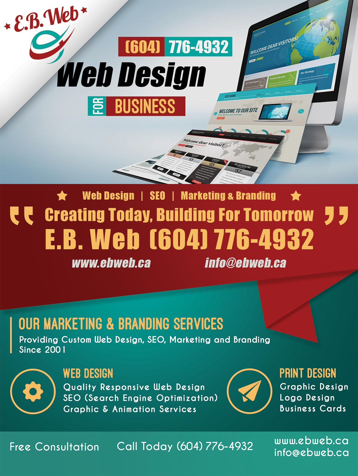 E.B. Web, Web Design For Business Mega Flyer Advertisement For Abbotsford, The Fraser Valley and the Lower Mainland.