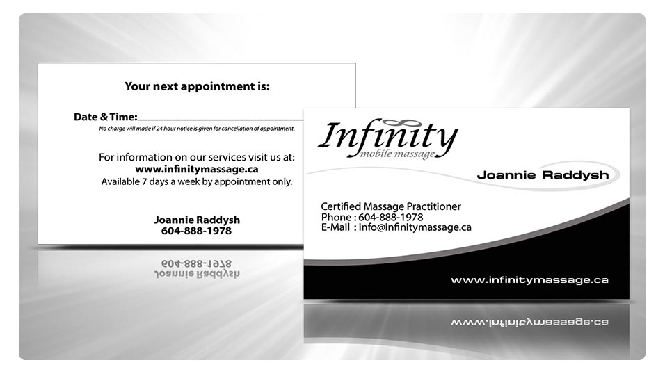 Infinity mobile massage business card logo creation infinity mobile massage eb web recent web design project reheart Images